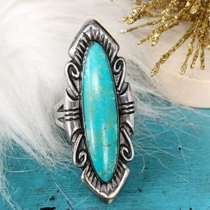 Vtg Sterling Blue Turquoise Statement Ring Sz 7